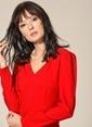 Agenda Kol Detaylı V Yaka Elbise Kırmızı